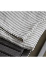 Linen Kitchen Towel - Stonewashed - Grey White Stripes
