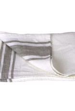 Linen Kitchen Towel - Stonewashed - White with Natural Stripes