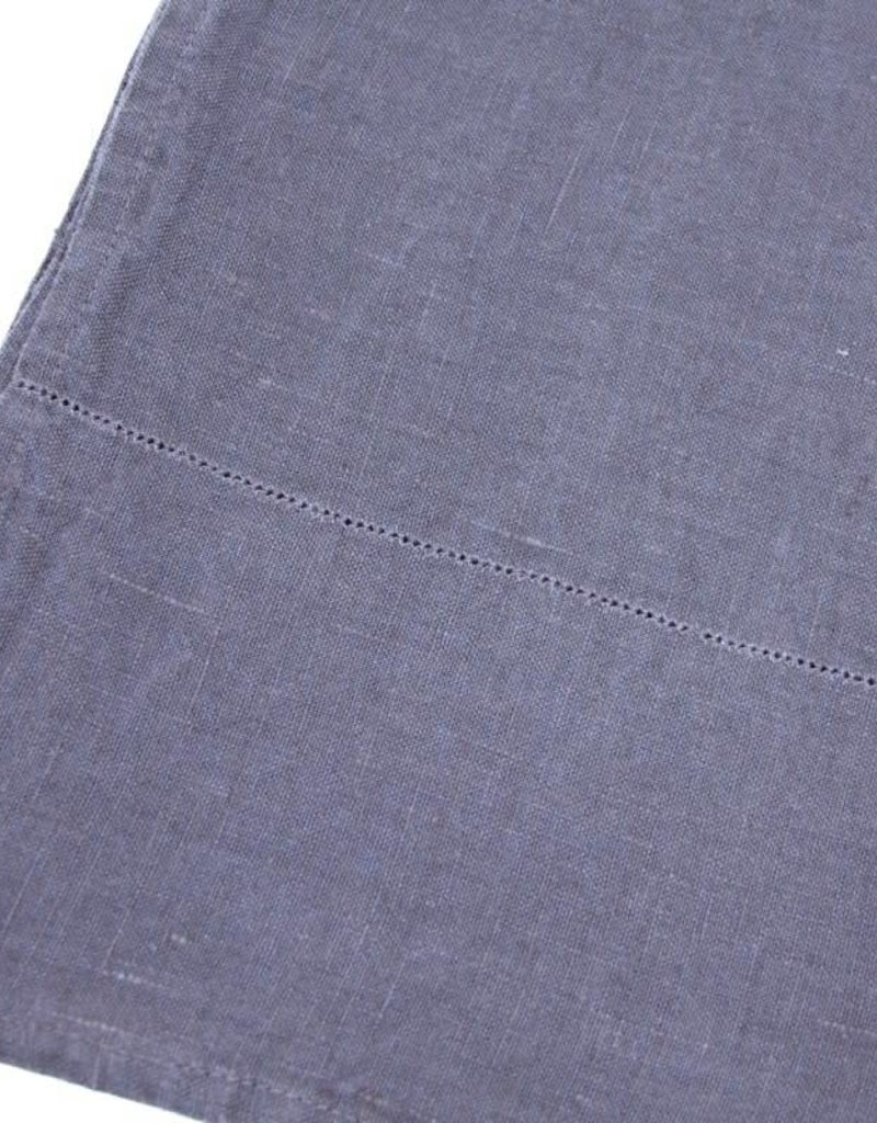Linen Kitchen or Hand Towel - Stonewashed - Charcoal with Dot Hemstitch