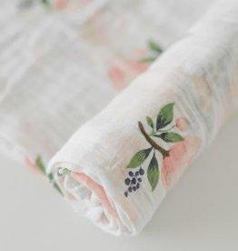 Cotton Muslin Swaddle Single - Watercolor Rose