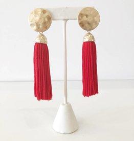 Bold Tassel Earring - Red