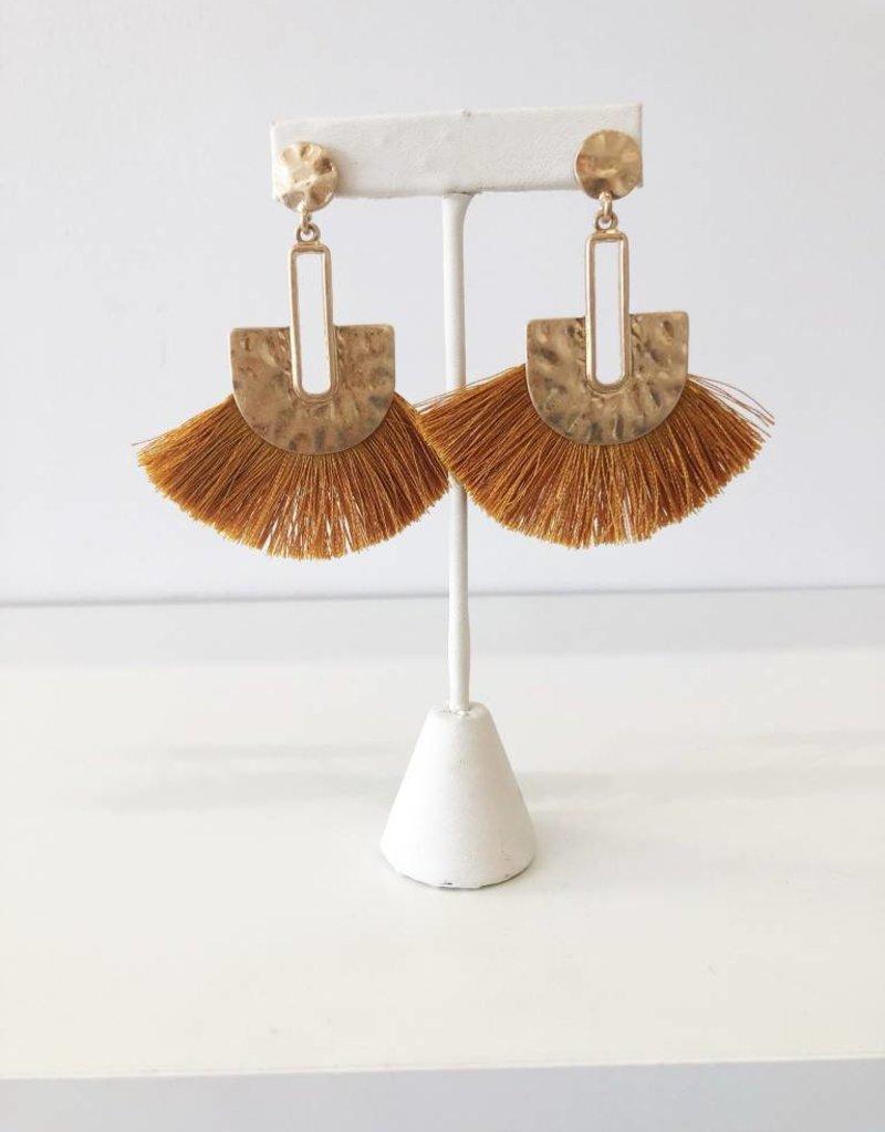 Hammer Fabric Earring - Mustard