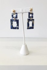 Navy Rectangle Acrylic Double Drop Earring