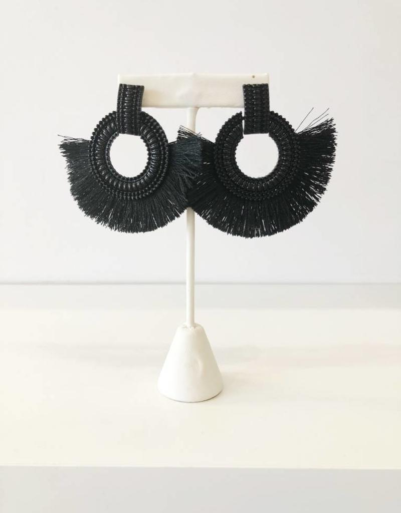 Black Beaded Circle + Fringe Earring
