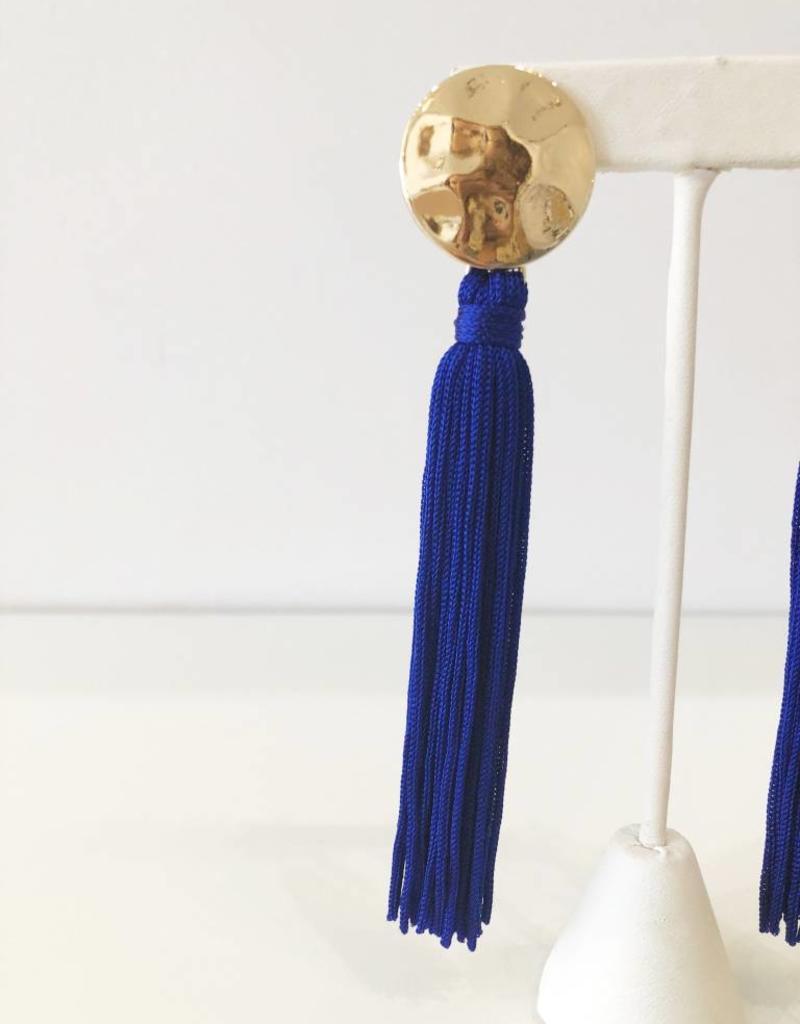 Blue + Gold Tassel Earrings