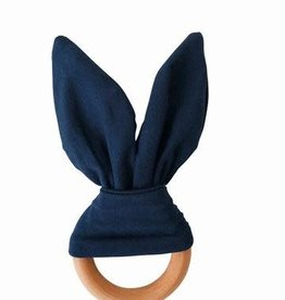 Crinkle Bunny Ears Teether - Navy