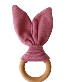 Crinkle Bunny Ears Teether - Mauve