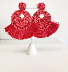 Statement Seed Bead Earring - Red