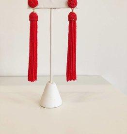 Red Seed Bead Tassel Earring