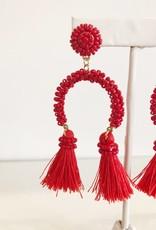 Red Half Moon Seed Bead Earring