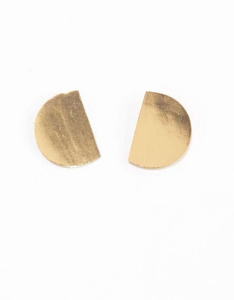 Brass Solid Small Cut Circle Post Earrings