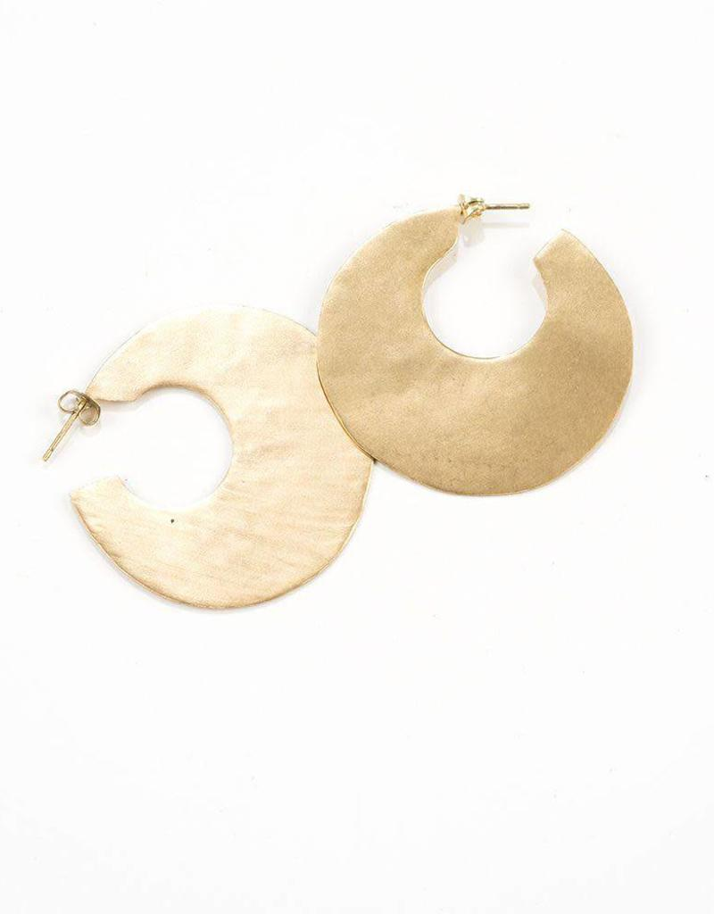 Large Solid Brass Hoop Earrings