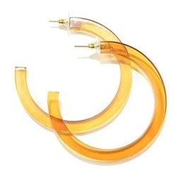 Amber Lucite Hoop Earrings