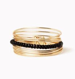 Gold Beaded Go Ring - Black - Size 8