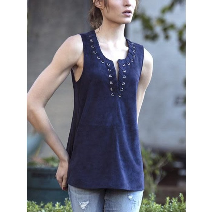 Crusoe Suede Top Navy Blue