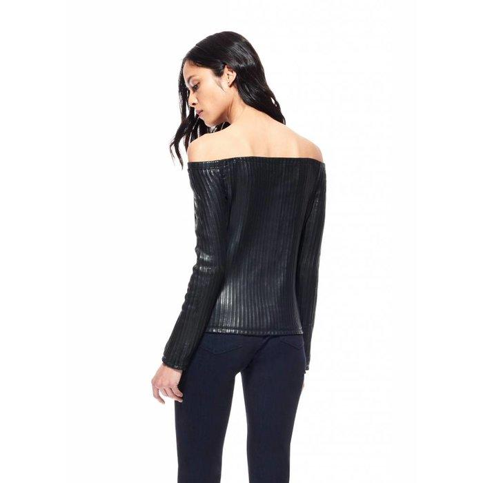 Strip Leather Off Shoulder Top