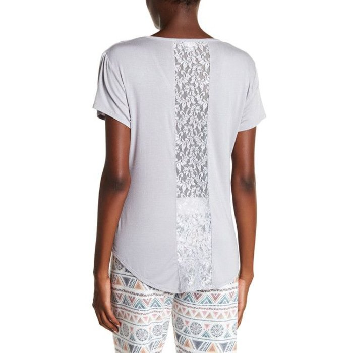 Silver Tee with Lace