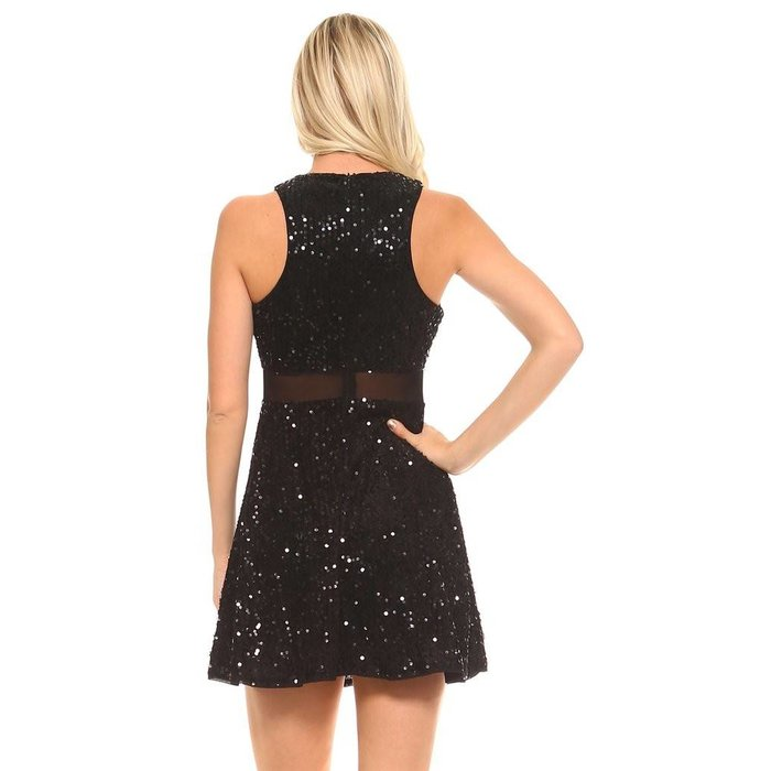 Sequin Dress with Netting Detail