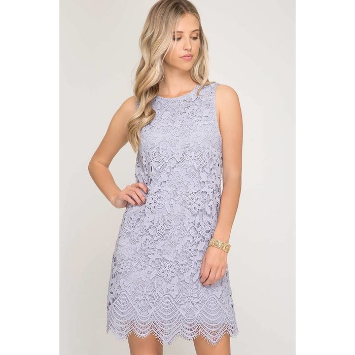 Lace Dress with  Scalloped Hem