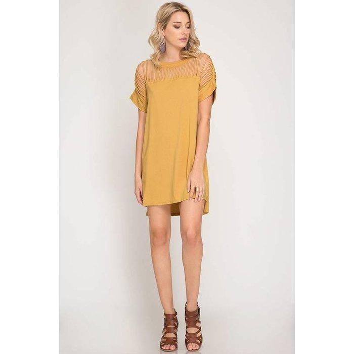 Drop Shoulder Cage Shift Dress