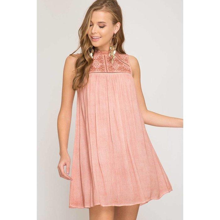 Contrast Lace Detail Dress