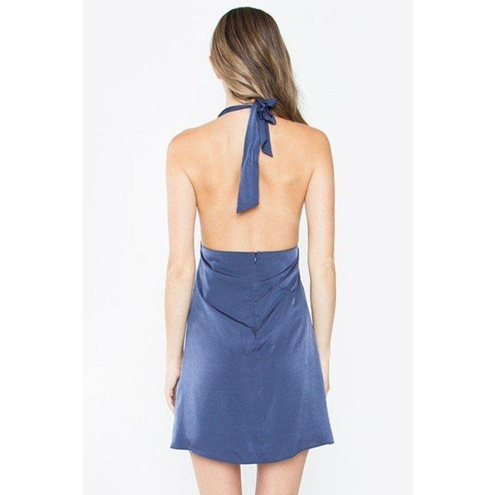 Navy Drape Front Dress