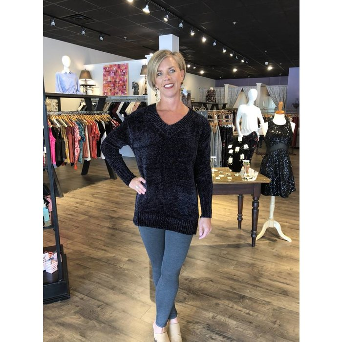 Dex Black Tape Chenille Tunic