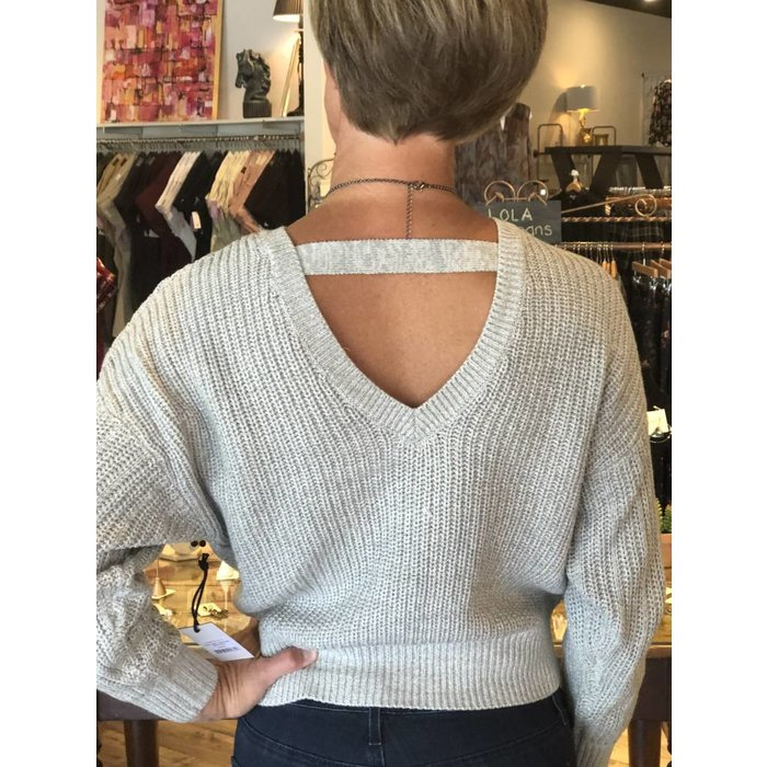 Black Tape Open Back Cable Sweater