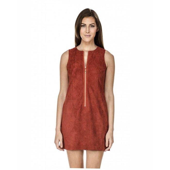 Front Zip Faux Suede Dress