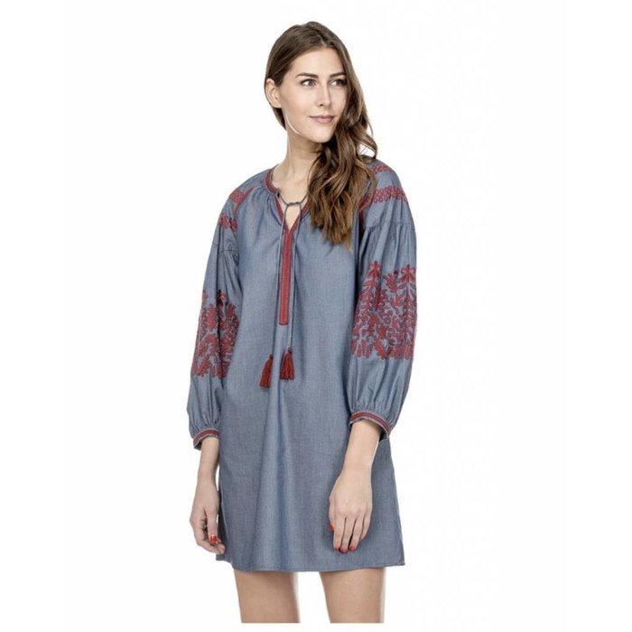 Denim Embroidered Dress