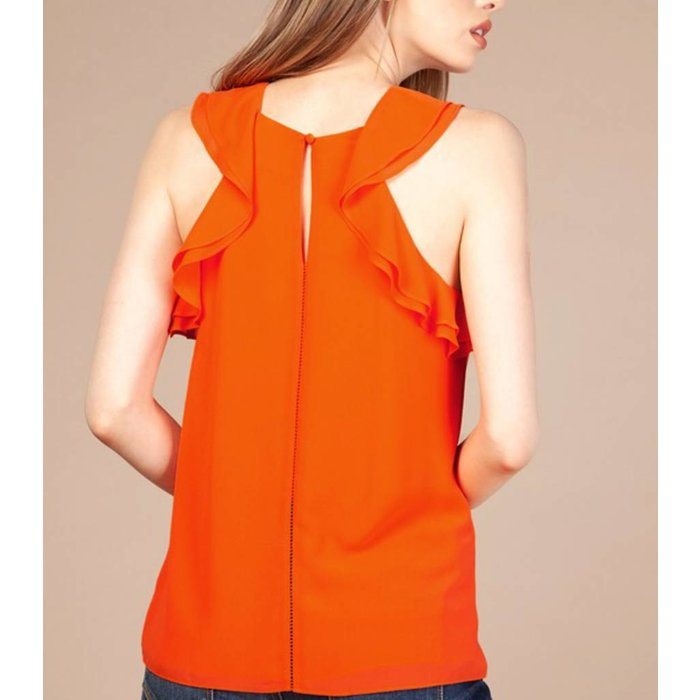 Ladder Trim Ruffle Top