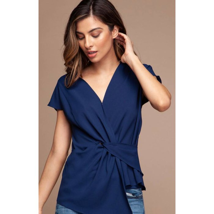Twist Front Woven Blouse Navy