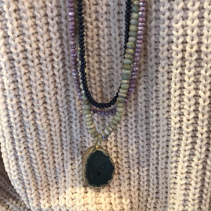 Brooke Silverite and Agate Necklace