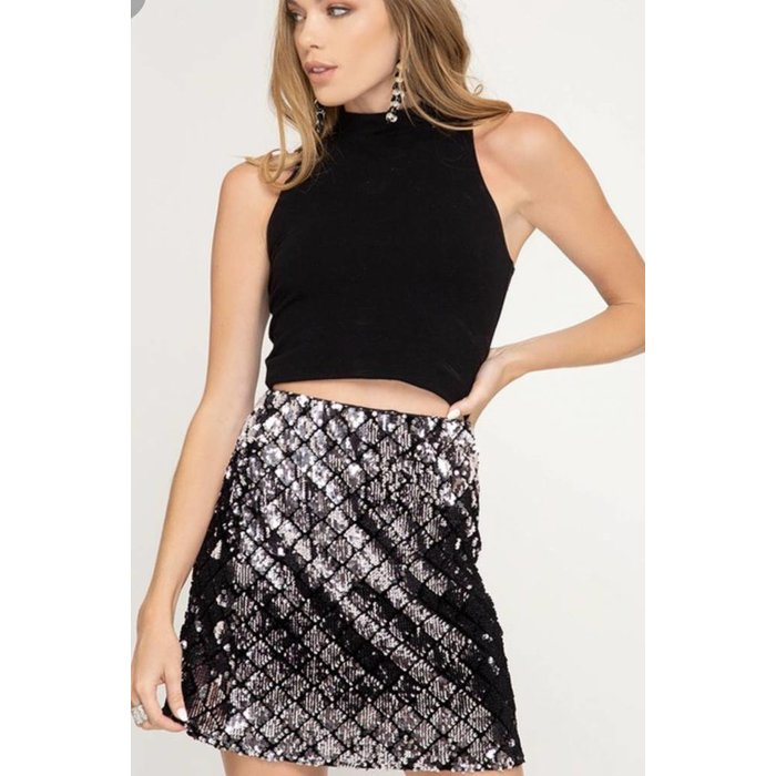 Sequin Checker Mini Skirt