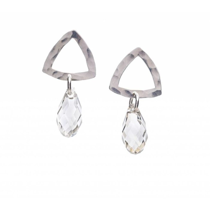 Open Triangle w Crystal Drop Earring