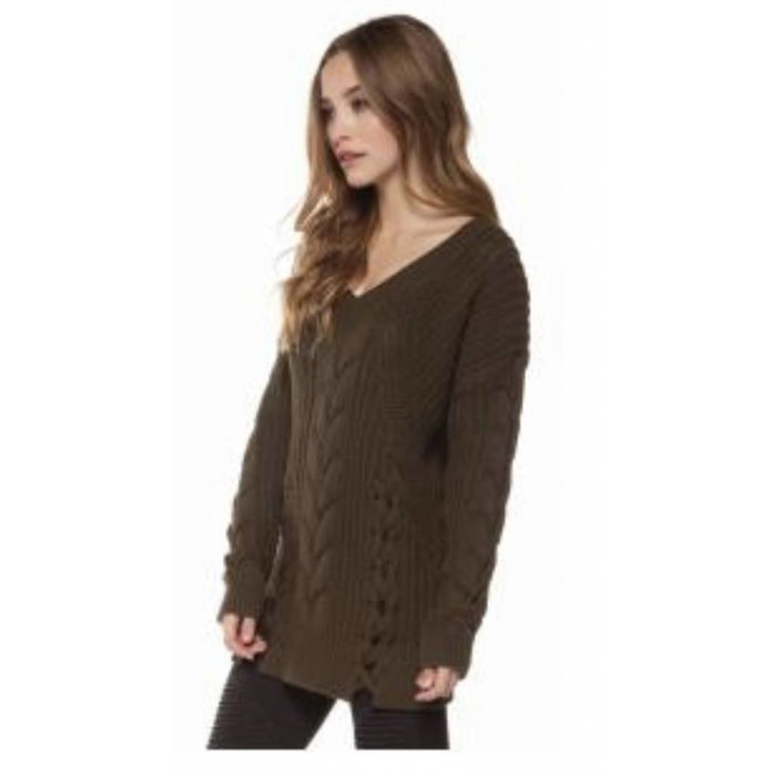 LS V Neck Cable Neck Sweater w Lace Up