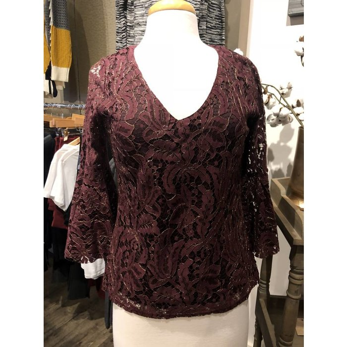 Merlot Lace w Bell Sleeve Top