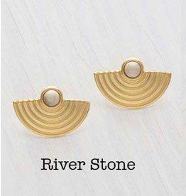 Baja de Sol Earrings Brass- Riverstone with 14k Gold Plate