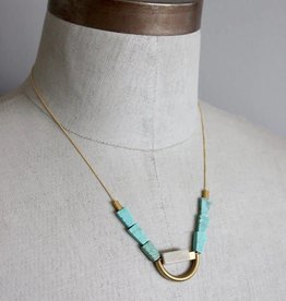 David Aubrey Turquoise Brass Marble Necklace