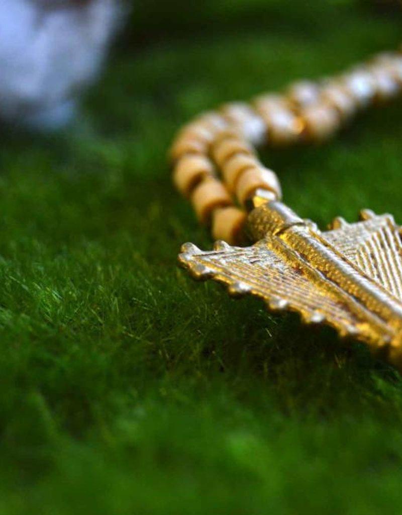 Wood Beaded Arrow Necklace