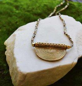Baizaar Brass Half Moon Pendant Necklace