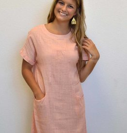 Blissful Linen Pocket Shift Dress