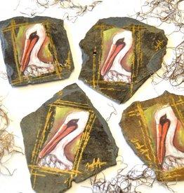 NOLA SLATE New Orleans Roofing Shingle Slate Coasters - Colorful Pelican