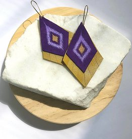 LSU Purple Gold Layered Leather Earring