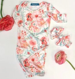 The French Floral Sack Gown with Headband - Newborn