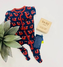 Kickee Pants Footie w Zipper Navy Fox