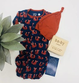 Kickee Pants Layette Gown Converter & Knot Hat Set Navy Fox