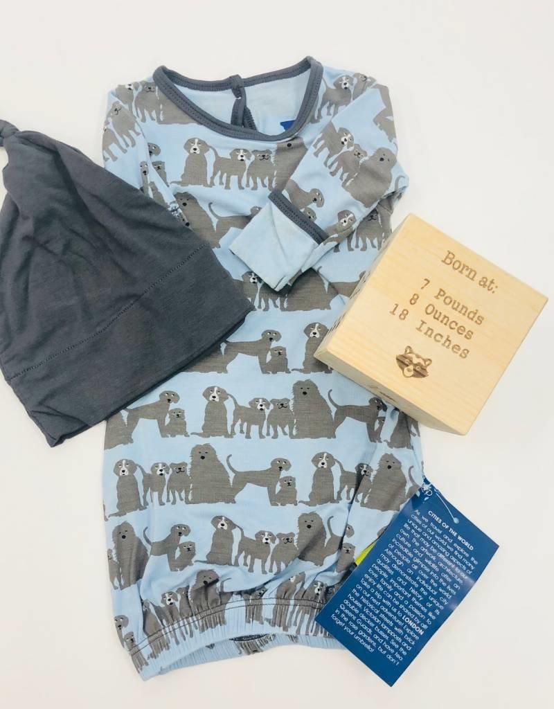 Layette Gown & Single Knot Hat Set London Dogs - Aspen Bleu
