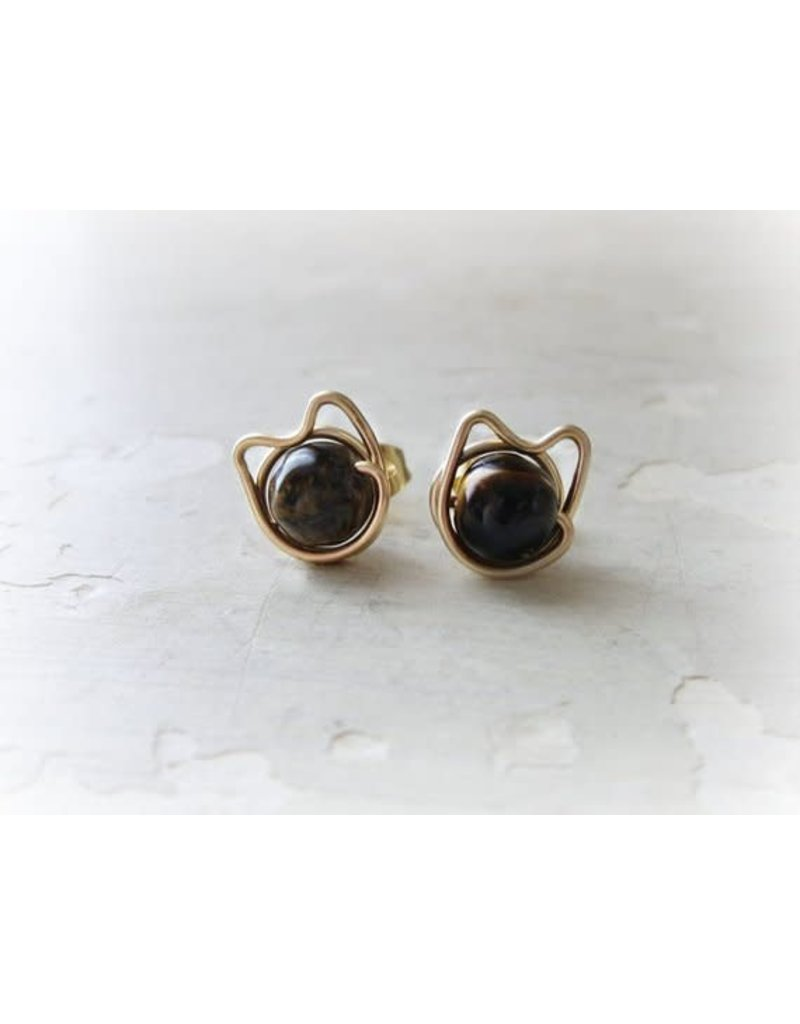 Contempo Jewelry Gold Filled Black Cat Stud Earrings