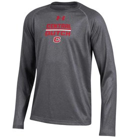 UA UA Youth Tech Tee LS Carbon